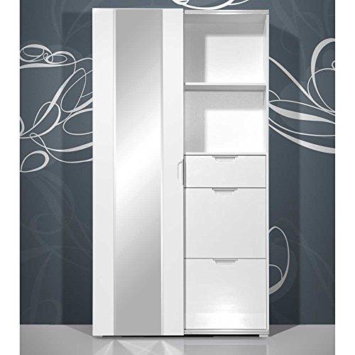Pharao24 Garderobe in Hochglanz Weiß kompakt