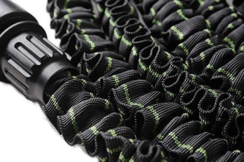 MAGIC FleXx Flexibler Gartenschlauch, 5 > 15 Meter Flexschlauch, Edition Carbon/Green, 8 in 1 Düse mit Feststellfunktion, max. Druckbelastung 12 Bar -