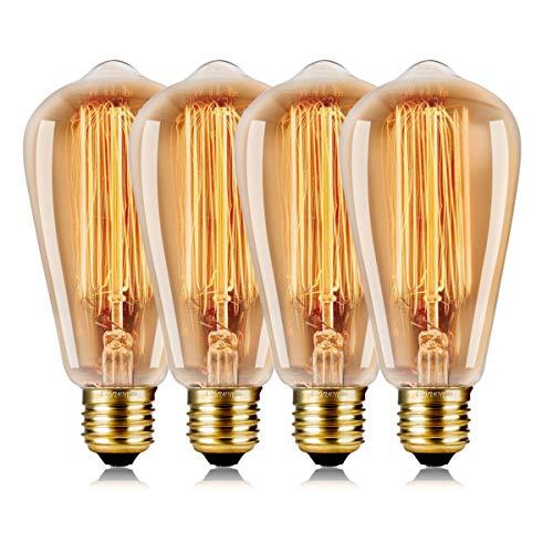 wedna 60w edison vintage lampadina st64 e27 lampada bar stile industriale luce retrò lampadine - 4 pack