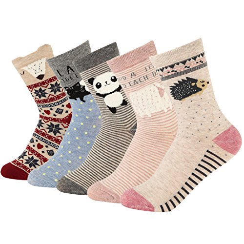 Women Cute Cartoon Socken-Casual Cotton Animal Pattern Crew Neuheit Girls Socken (Crew-socken Casual)