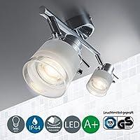 Lámpara LED de techo para baño I Barra de dos focos LED I Protección de agua I 2 bombillas LED GU10 I Color de la luz blanco cálido I Cromado I 230 V I IP44 I 2 x 5 W I Anchura: 325 mm
