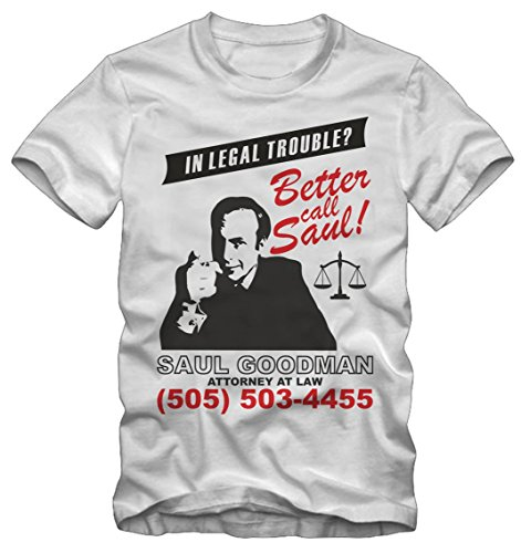 T-shirt Better Call Saul Breaking Bad By Bisura (M UOMO, BIANCO)