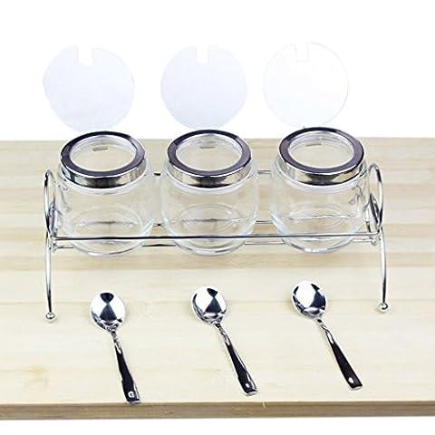 GBT Würzflasche Edelstahl Gewürzboxen, Glas Condiment Boxen, Home Gewürzflaschen Sets, Küche Lieferungen 4 Montage