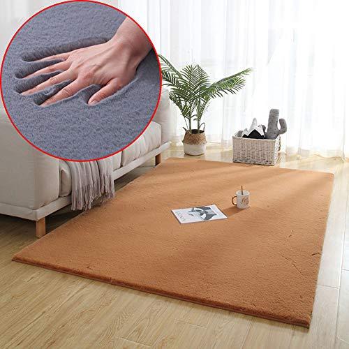 BAIVIT Hochflor Teppich, Moderne Wunderschöne Art Künstliches Kaninchenhaar Ultra Weichen Dicken Einfachen Hochflor Teppich, Kinder Bodenmatte,Camel,160x200cm -