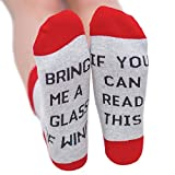 """Qlan """"If You can read this Bring Me a Glass of Wine/Coffee/Beer"""" Lettre brodée Coton Dans le tube Chaussettes Homme Femmes Chaussettes"""