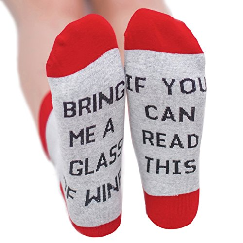 If you can read this Bring Me A Glas Wein/kalt Bier/Kaffee Unisex Knöchel Crew Socken, rot