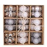 Victor's Workshop Palline di Natale Christmas Baubles 54 Pezzi Decorazioni Natalizie 3cm Decorazioni Natalizie per Decorazioni Albero di Natale Inverno Congelato Argento Bianco Multi-Packing