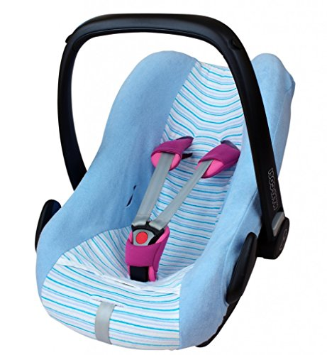 ByBoom® - Universal Sommerbezug, Schonbezug aus Frottee mit Streifen für Babyschale, Autositz, z.B. Maxi Cosi Cabrio Fix, City, Pebble; Designed in Germany, MADE IN EU, Farbe:Hellblau/Streifen-Blau