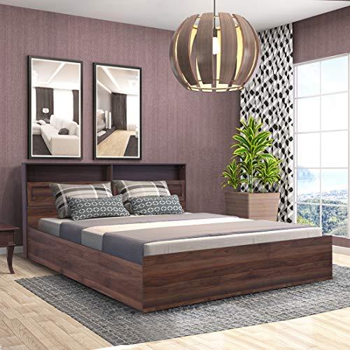 HomeTown Alyssa Engineered Wood Box Storage Queen Size Bed in Wenge Color