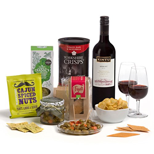 Wine O' Clock - Red Wine & Nibbles Hamper Gift Box - FREE UK Delivery