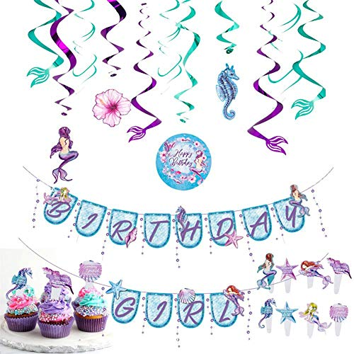 artydekoration (29 Stücke), Happy Birthday Banner, Hängender Wirbel, Cupcake Topper, Meerjungfrau Thema Party für Mädchen Geburtstag ()