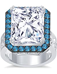 Silvernshine 18K Rediant Cut Aquamarine Simuleted Diamond WhiteGold Plated Hand Craft Wedding Ring