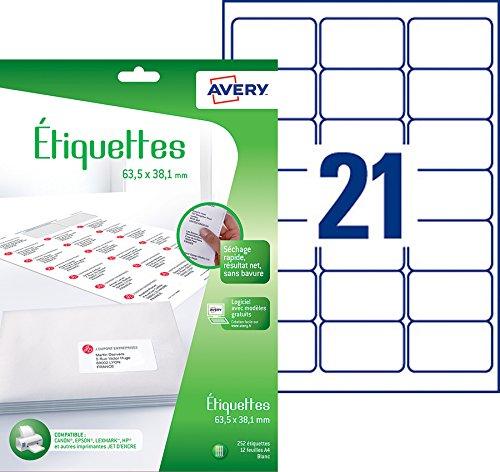 Avery 252 Etiquettes Autocollantes 21 Par Feuille