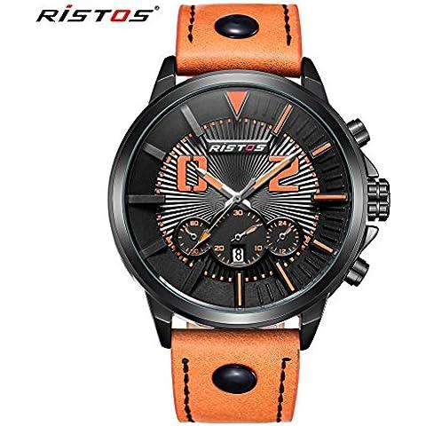 LONGBO Fashion arancione cinturino in vera pelle Uomo analogico al quarzo militare impermeabile orologio sportivo da uomo Bussiness Orologio da polso 93001 - Moon Phase Guarda