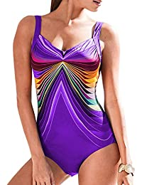 748c698462 FIYOTE Womens Gradient Color Crisscross Low Back One Piece Swimsuits  Swimming Costume