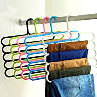 Bluelans® 5 Bar Trouser Hanger Rack - Hold 5 Pairs Of Trousers - Ties Scarves Belts Towel Hangers (Random Colour)