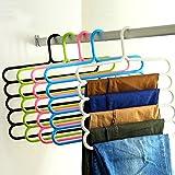 Bluelans® 5 Bar Trouser Hanger Rack - Hold 5 Pairs Of Trousers - Ties Scarves Belts Towel Hangers (Random Colour)