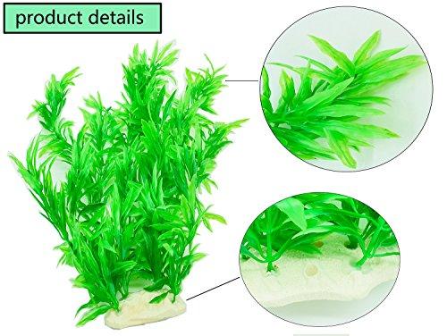 PANYTOW 5 Pieces Artificial Green Plant Grass Water plants for Fish Tank Aquarium Decor Ornament Decoration Plastic… 2