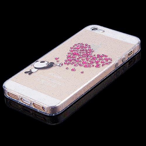 EUWLY iPhone 5S/iPhone SE Custodia Silicone, Case Cover per iPhone 5S/iPhone SE, EUWLY Sparkly Bling Glitter Gel Silicone TPU Custodia Cover per iPhone 5S/iPhone SE Protettiva Copertura Super Sottile  Bling Amore