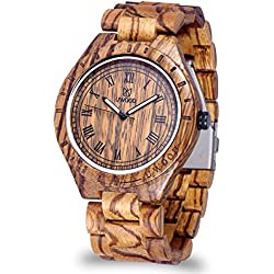 Men's Style Wooden Watches With 100% Natural Zebra Wood