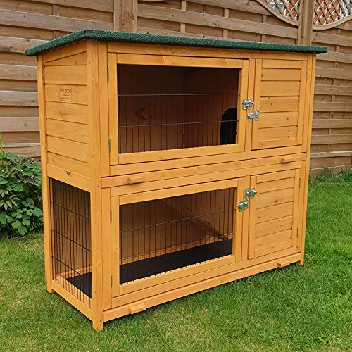 FeelGoodUK small animal barn on 2 levels, suitable for rabbits and guinea pigs, with free cover and feet elevated, 1.2 ° m