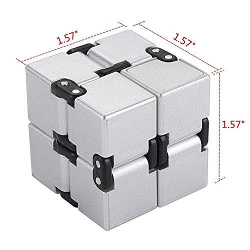 EKKONG Fidgeting di edc di novità – Fidget Cube in Stile con Il cubo Infinite Cube Infinity Cube Fidget Cubo Stress Relief e Ansia Giocattolo per Bambini e Adulti (Argento) - 5