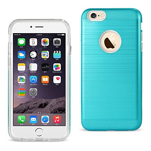 Reiko iPhone 6 Plus / iPhone 6S Plus Hybrid Metall gebürstet Textur Case - Retail Verpackung - blau blau