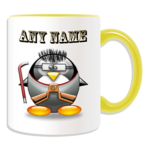 Personalisiertes Geschenk–Half Life Tasse (Pinguin in Kostüm Design Thema, Farbe Optionen)–alle Nachricht/Name auf Ihre einzigartige–Gordon Freeman, keramik, (Freeman Kostüm Life Half Gordon)