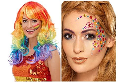 Fancy Dress World – mehrfarbige Pride Rainbow Glam Perücke 52026 mit Regenbogen-Edelsteinen 49012...