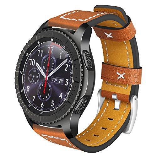 Für Samsung Gear S3 Frontier Armband Leder, AISPORTS 22mm Samsung Gear S3 Classic Uhrenarmband Leder Smart Watch Ersatz Uhrenarmbänder für Samsung Gear S3 Frontier/Classic - Braun (Sprint-smart Watch)