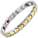 Ladies Two Tone Four Element Titanium Magnetic Bracelet + Free Link Removal Tool By Willis Judd