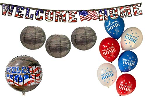 Military Party Dekoration: Set mit Welcome Home Mylar-Luftballon, Welcome Home Banner, Camo Papierlaternen, Latex-Luftballons im American Heroes Design ()