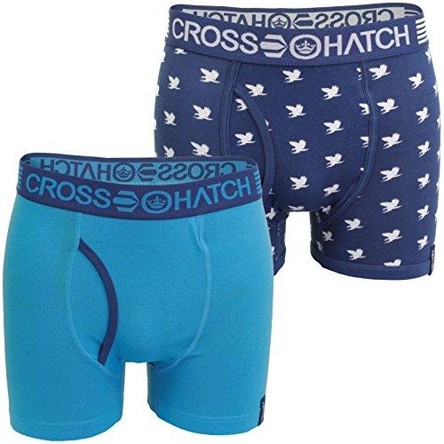 Herren Boxershorts/Unterhosen von Crosshatch (2-er Pack) (Emberwing - Blue/ Sapphire) M
