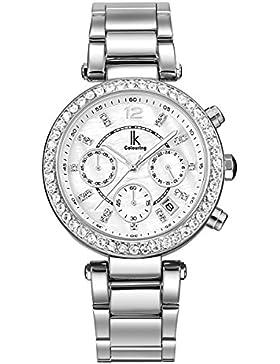 Alienwork Quarz Armbanduhr Perlmutt Uhr Damen Uhren Mädchen Strass Metall weiss silber K005LA-02