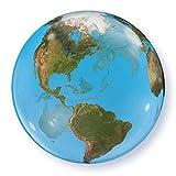 Qualatex Luftballon im Weltkugel-Design, rund, 56 cm (Einheitsgröße) (Blau/Grün)