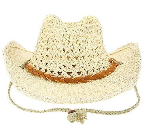 YL Homme Chapeau de Paille de Soleil Chapeau Cow-Boy Western Randonné (Beige)