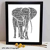 UPK Gifts Personalised Elephant Keepsake Print Gift Word Art with FRAME Family Best Friends Daughter Son Love Teacher