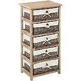 meuble en bois 5 tiroirs paniers en osier avec housses amovibles cuisine maison. Black Bedroom Furniture Sets. Home Design Ideas