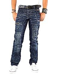 Kosmo Lupo K&M 020 Designer Jeans Homme Cargo Black Bleu Style Clubwear Pantalon W29-W38 / L32-L34