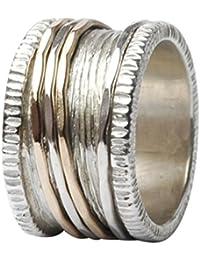 Tiljon Breiter Ring Bicolor Silber Gold mit vier drehbaren Ringschienen, Ringbreite ca. 1,3 cm