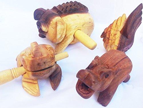Holz Guiro Percussion Klang-Tier-e Holz Musik-Spielzeug-Instrument-Tier-e Set 4 er Set Schwein Hahn Hippo Frosch ohne Chemie - diverse Designs