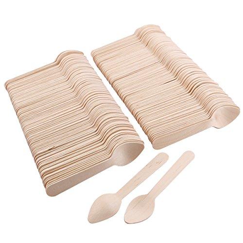 200x Cuillères jetable en bois vaisselle couvert pour fête Anniversaire buffet mariage mariage Camping pique-nique
