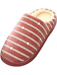 TEFAMORE Les Femmes réchauffent Pantoufles moelleuses Vichy à l'intérieur des Chaussures de Chambre à Coucher antidérapantes