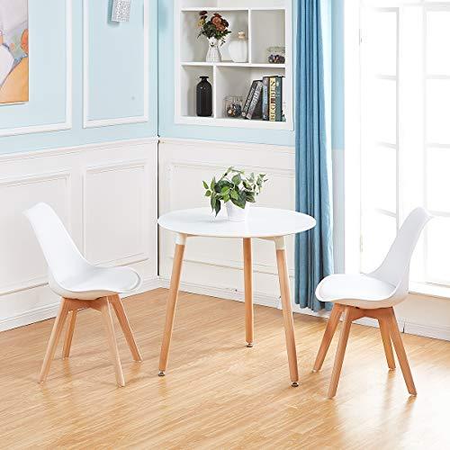 DORAFAIR Tavolo da Pranzo Rotondo Bianco,Tavolino da Cucina in Stile  Moderno con Gambe in Legno di faggio, Bianco,80 x 80 x 72 cm