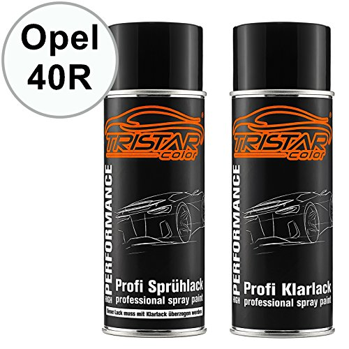 TRISTARcolor Autolack Spraydosen Set für Opel 40R Schneeweiss/Olympic White Basislack Klarlack Sprühdose 400ml -