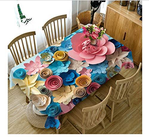 npassen 3D Tischdecke Farbiges Papier Blumenmuster Staubdicht Verdicken Baumwolle Hochzeit Rechteckige Tischdecke Heimtextilien-90X90cm ()
