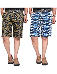 British Terminal Multi Colour Military Print Slim Fit Men's Cotton Shorts(Bermuda) Combo-pack Of 2