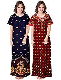 Lorina Women's Cotton Nighty (ComboNT_9254, Multicolour, Free Size) -Combo of 2 Pieces