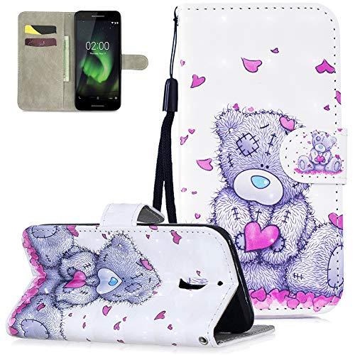 Nokia 2.1 Hülle Leder,Slynmax Tasche Handyhülle Flip Cover Silikon Schutzhülle Lederhülle Skin Ständer Schale Handytasche Bumper Klappbar Ledertasche Kompatibel mit Nokia 2.1,Ich Liebe Panda