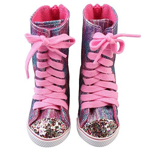 Puppenschuh, YUYOUG 1 Paar Glitter Doll Schuhe Riemen Stiefel Für 18 Zoll Unsere Generation American Girl Puppe Zubehör Mädchen Spielzeug Weihnachten Geburtstagsgeschenk (Bitty Baby Schuhe)